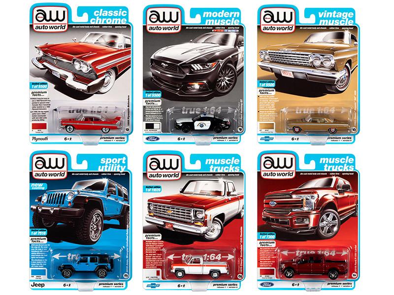 Autoworld Muscle Cars Premium 2020 Release 1 Set A of 6 pieces 1/64 Diecast Model Cars Autoworld 64242 A