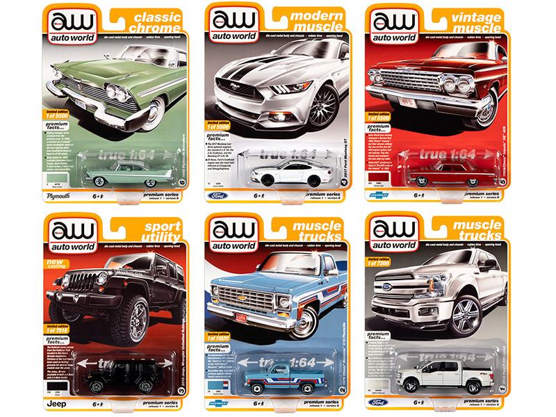 Autoworld Muscle Cars Premium 2020 Release 1 Set B of 6 pieces 1/64 Diecast Model Cars Autoworld 64242 B