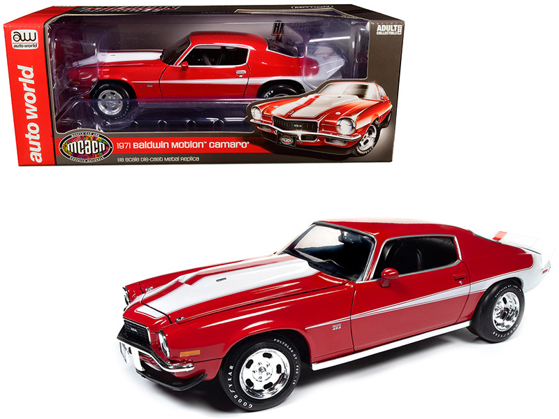 1971 Chevrolet Camaro Baldwin Motion Phase III Cranberry Red White Stripes Muscle Car & Corvette Nationals MCACN 1/18 Diecast Model Car Autoworld AMM1197