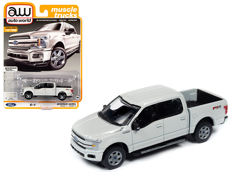 2018 Ford F-150 Lariat Pickup Truck White Platinum Metallic Muscle Trucks Limited Edition 7300 pieces Worldwide 1/64 Diecast Model Car Autoworld 64242 AWSP032 B