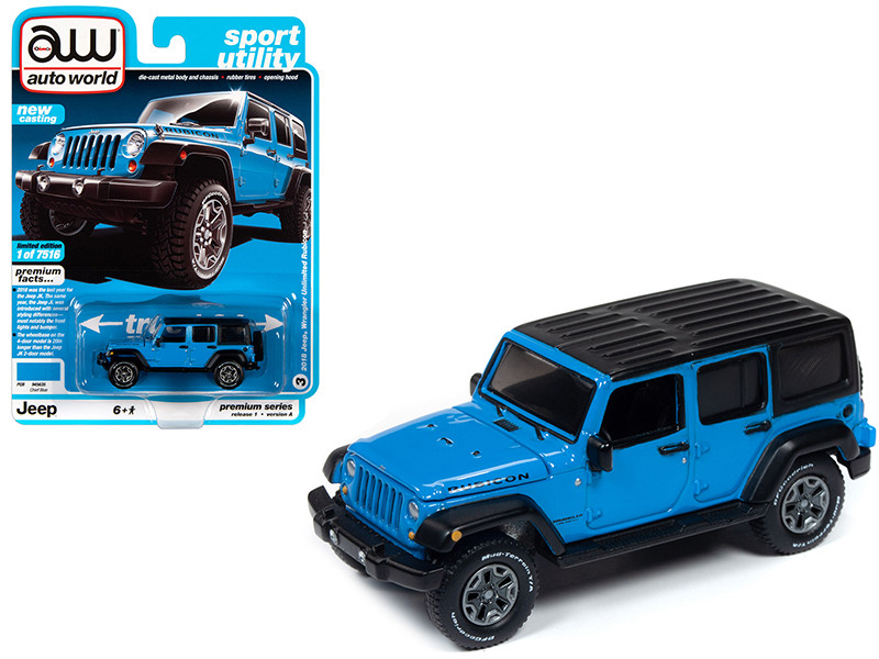 2018 Jeep Wrangler Unlimited Rubicon Chief Blue Flat Black Top Sport Utility Limited Edition 7516 pieces Worldwide 1/64 Diecast Model Car Autoworld 64242 AWSP033 A