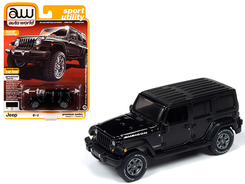 2018 Jeep Wrangler Unlimited Rubicon Gloss Black Sport Utility Limited Edition 7516 pieces Worldwide 1/64 Diecast Model Car Autoworld 64242 AWSP033 B