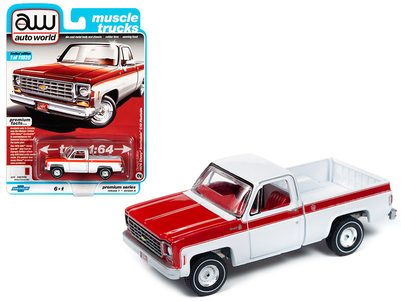 1976 Chevrolet Scottsdale C10 Fleetside Pickup Truck Olympic Edition White Red Muscle Trucks Limited Edition 11020 pieces Worldwide 1/64 Diecast Model Car Autoworld 64242 AWSP034 A