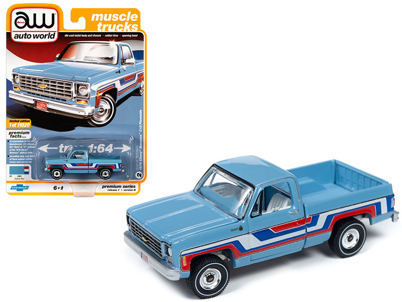 1976 Chevrolet Bonanza C10 Fleetside Pickup Truck Bicentennial Edition Skyline Blue Stripes Muscle Trucks Limited Edition 11020 pieces Worldwide 1/64 Diecast Model Car Autoworld 64242 AWSP034 B