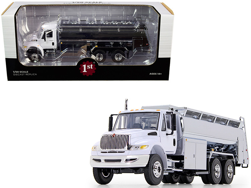 International DuraStar Liquid Fuel Tank Truck White Chrome 1/50 Diecast Model First Gear 50-3434