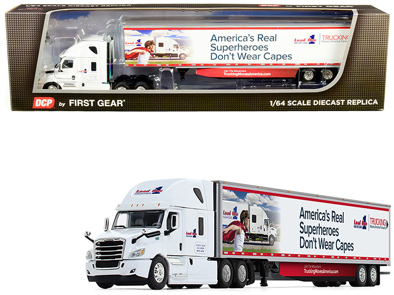 2018 Freightliner Cascadia High-Roof Sleeper Cab 53' Utility Trailer Side Skirts Load One LLC 1/64 Diecast Model DCP First Gear 60-0587