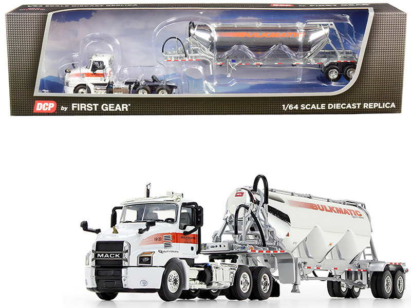 Mack Anthem Day Cab Heil Pneumatic Tank Trailer Bulkmatic Transport Company White Chrome 1/64 Diecast Model DCP First Gear 60-0647