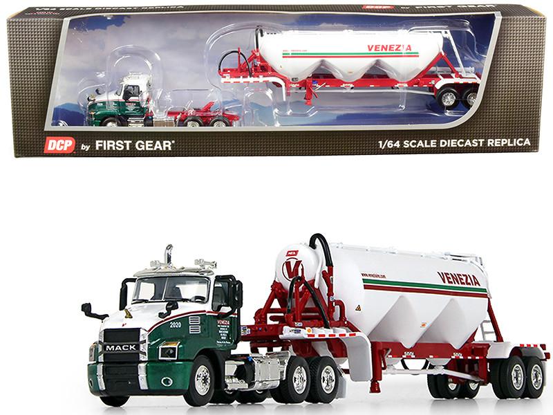 Mack Anthem Day Cab Heil Pneumatic Tank Trailer Venezia Bulk Transport Inc Green Metallic White 1/64 Diecast Model DCP First Gear 60-0655