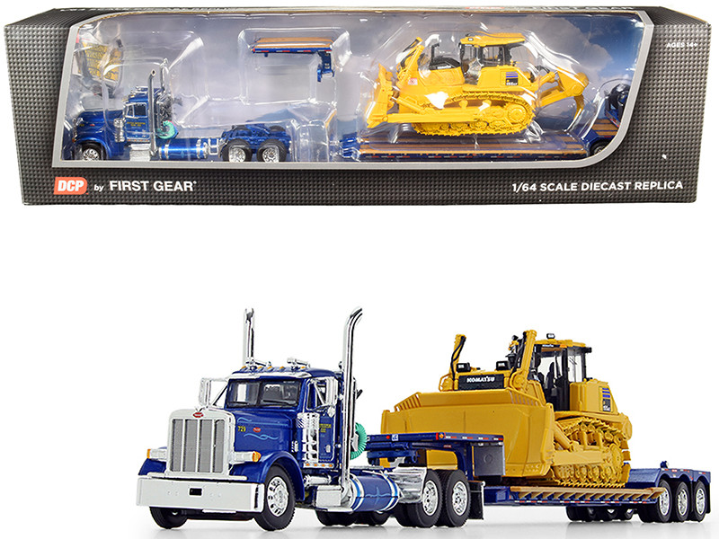 Peterbilt 379 Day Cab Tractor Truck Western Distributing Trans Corp Fontaine Renegade Extendable Lowboy Flip Axle Blue Metallic Komatsu D155AX-8 Sigmadozer with Ripper Set of 2 pieces 1/64 Diecast Models DCP First Gear 60-0693K