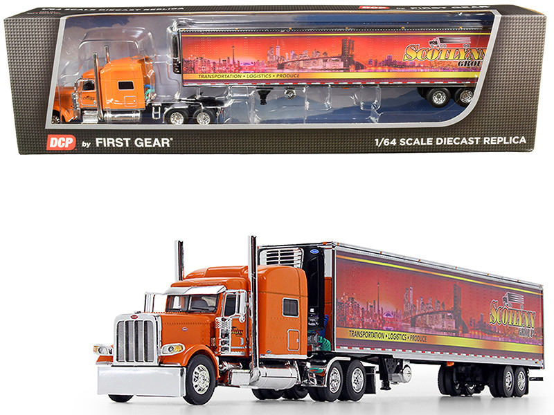 "Peterbilt 389 70"" Mid-Roof Sleeper Cab Tractor Truck 53' Utility Reefer Refrigerated Trailer Scotlynn Group Orange 1/64 Diecast Model DCP First Gear 60-0705"