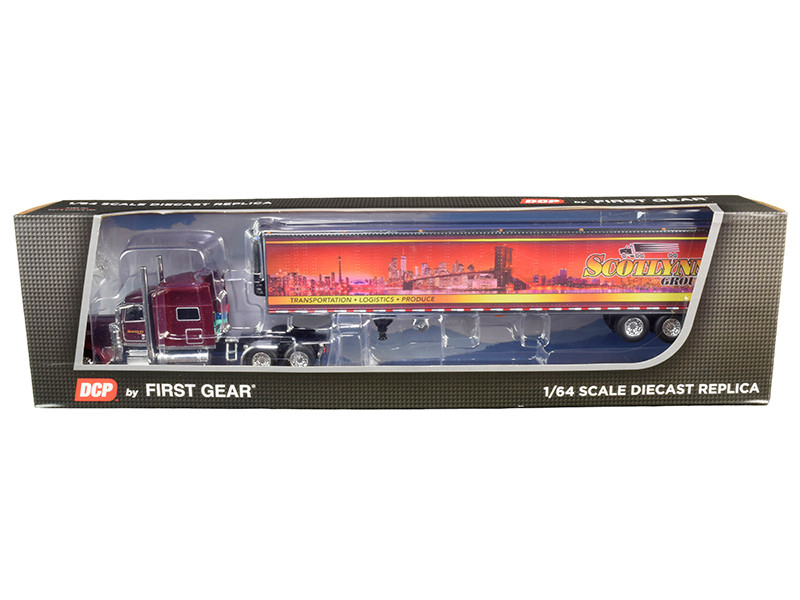 "Peterbilt 389 70"" Mid-Roof Sleeper Cab Tractor Truck 53' Utility Reefer Refrigerated Trailer Scotlynn Group Garnet Red Metallic 1/64 Diecast Model DCP First Gear 60-0706"