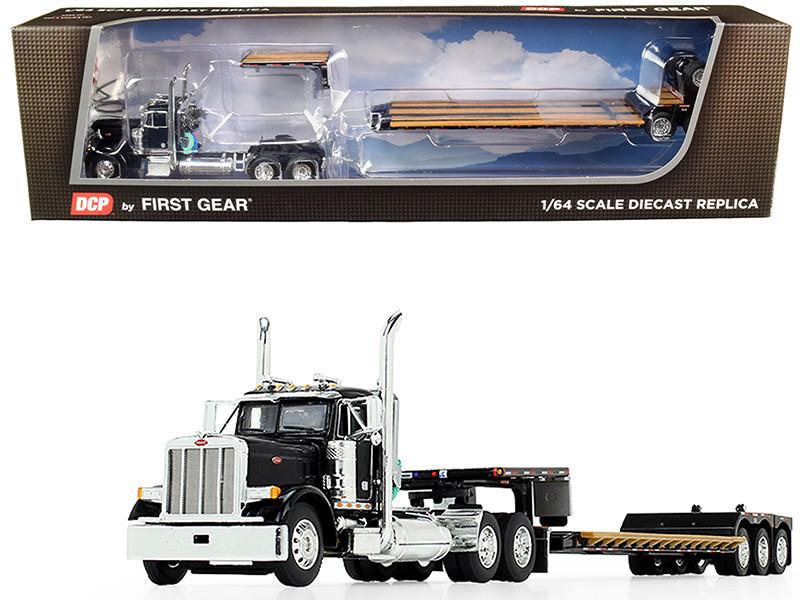 Peterbilt 379 Day Cab Tractor Truck Black Fontaine Renegade Extendable Lowboy Trailer Flip Axle Black 1/64 Diecast Model DCP First Gear 60-0721