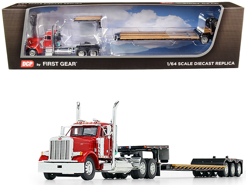 Peterbilt 379 Day Cab Tractor Truck Red Fontaine Renegade Extendable Lowboy Trailer Flip Axle Black 1/64 Diecast Model DCP First Gear 60-0722