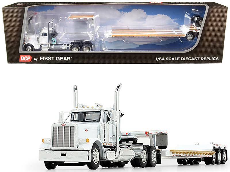 Peterbilt 379 Day Cab Tractor Truck Fontaine Renegade Extendable Lowboy Trailer Flip Axle White 1/64 Diecast Model DCP First Gear 60-0723