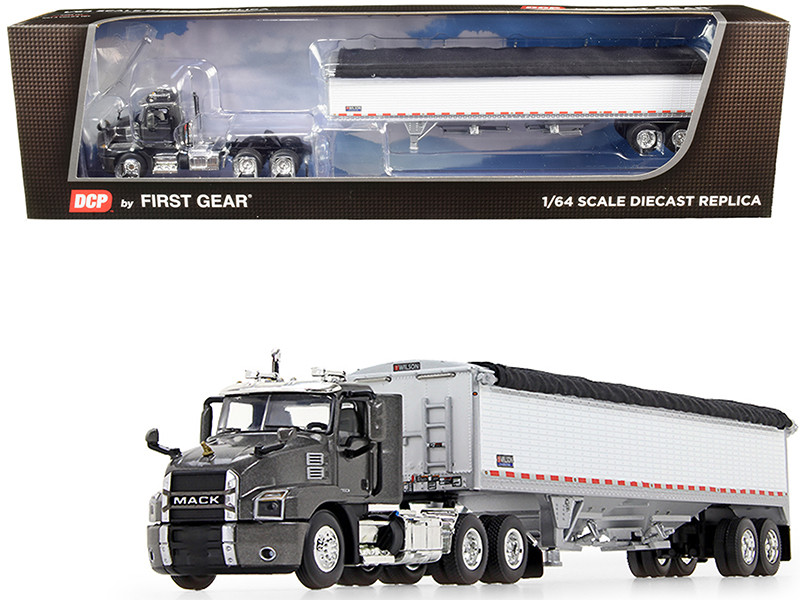 Mack Anthem Day Cab Wilson PaceSetter High-Sided Tandem-Axle Grain Trailer Graphite Gray Metallic White 1/64 Diecast Model DCP First Gear 60-0725