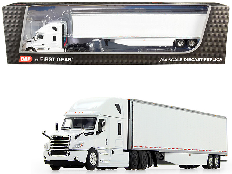 2018 Freightliner Cascadia High-Roof Sleeper Cab 53' Utility Dry Goods Trailer Side Skirts White 1/64 Diecast Model DCP First Gear 60-0744
