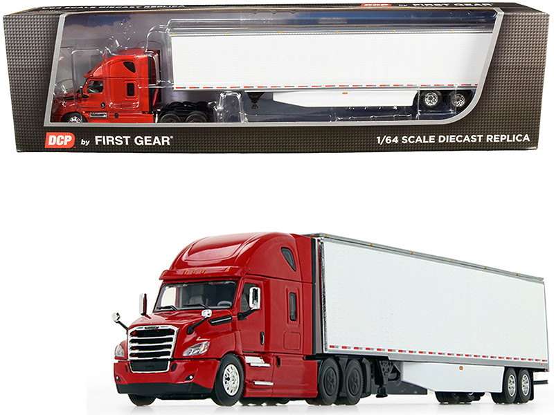 2018 Freightliner Cascadia High-Roof Sleeper Cab 53' Utility Dry Goods Trailer Side Skirts Red White 1/64 Diecast Model DCP First Gear 60-0745