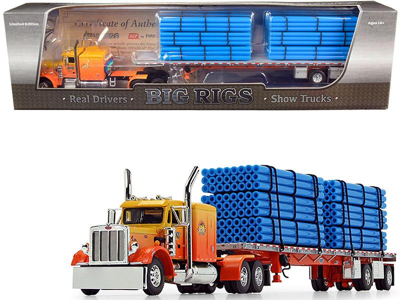 "Peterbilt 359 63"" Sleeper Cab Wilson Roadbrute Spread-Axle Trailer 6 Blue Pipe Loads Kelsey's Trucking Sunrise Express 1st in a Big Rigs Series 1/64 Diecast Model DCP First Gear 69-0700"