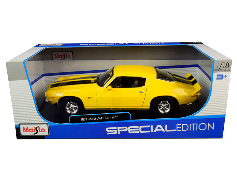 1971 Chevrolet Camaro Yellow Black Stripes 1/18 Diecast Model Car Maisto 31131