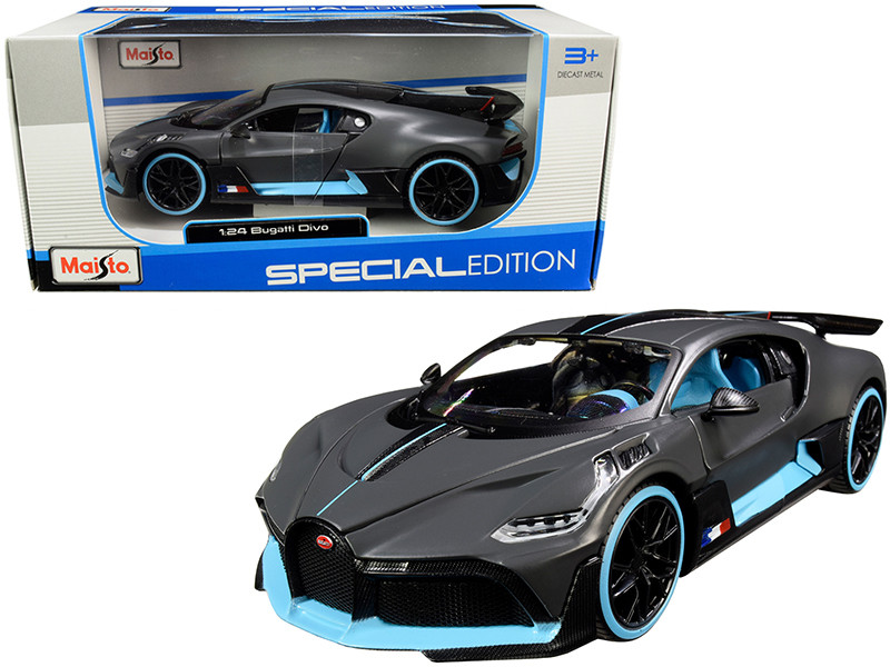 Bugatti Divo Satin Charcoal Gray Carbon Blue Accents Special Edition 1/24 Diecast Model Car Maisto 31526