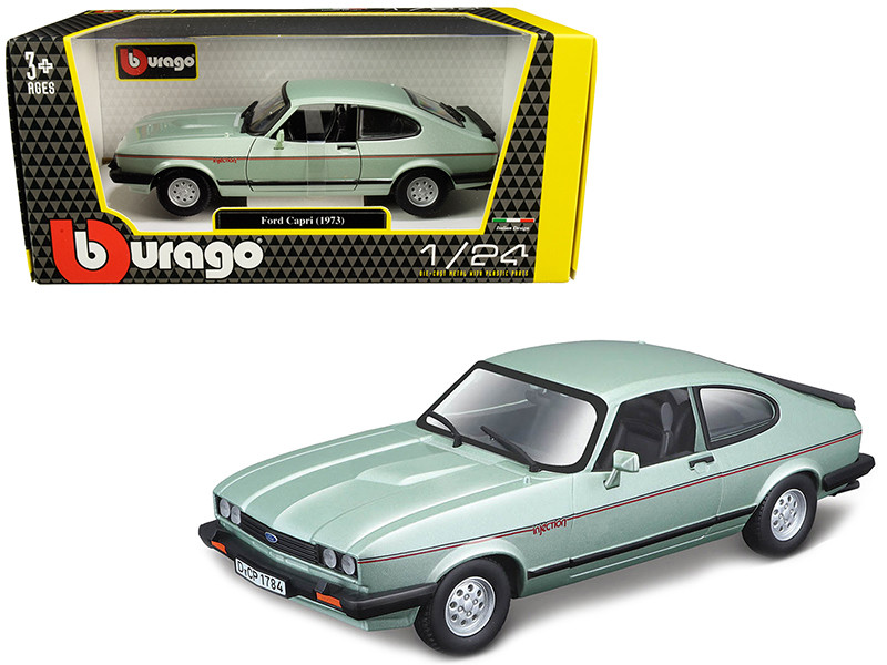1973 Ford Capri Light Green Metallic 1/24 Diecast Model Car Bburago 21093