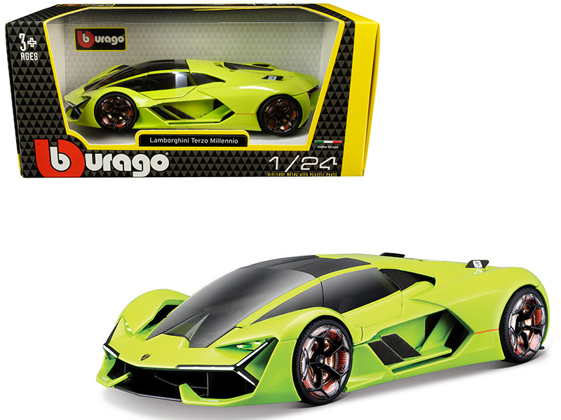 Lamborghini Terzo Millennio Lime Green Black Top Carbon Accents 1/24 Diecast Model Car Bburago 21094