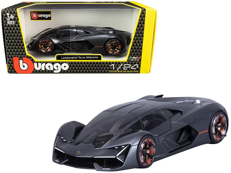 Lamborghini Terzo Millennio Dark Gray Metallic Black Top Carbon Accents 1/24 Diecast Model Car Bburago 21094