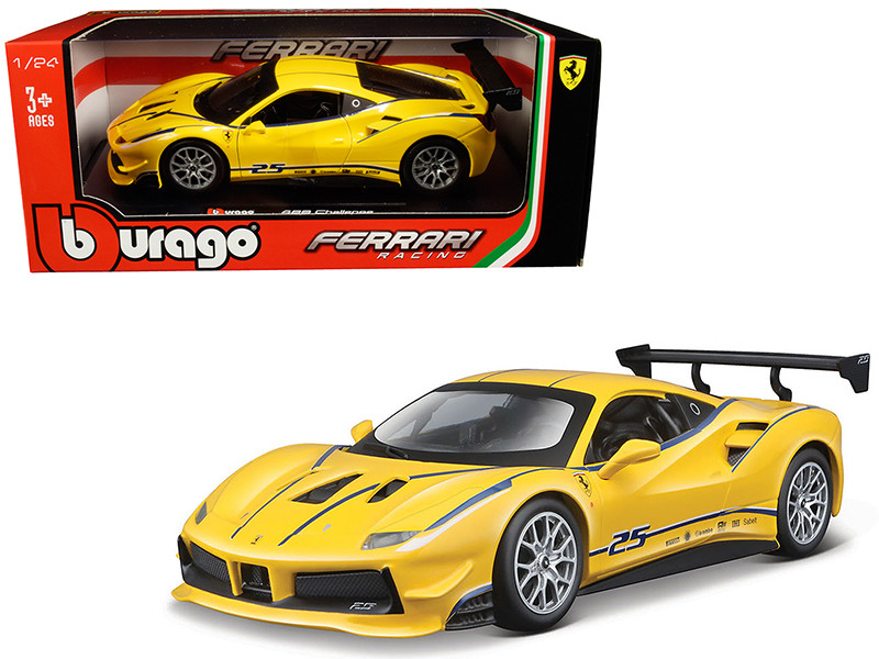 Ferrari 488 Challenge #25 Yellow Blue Stripes Ferrari Racing 1/24 Diecast Model Car Bburago 26307