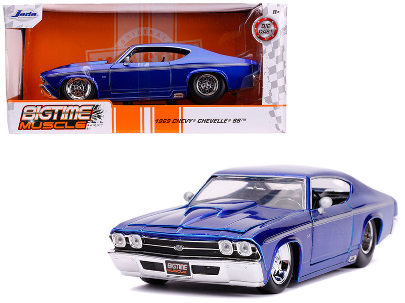 1969 Chevrolet Chevelle SS Candy Blue Silver Stripes Bigtime Muscle 1/24 Diecast Model Car Jada 31455