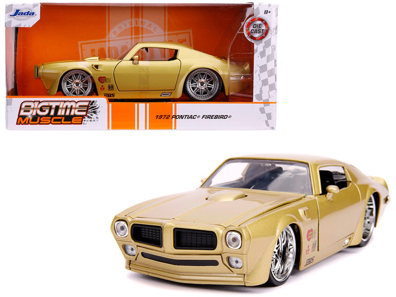 1972 Pontiac Firebird Gold Metallic Hooker Bigtime Muscle 1/24 Diecast Model Car Jada 31459
