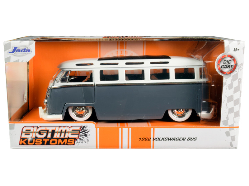 1962 Volkswagen Bus Gray White Bigtime Kustoms 1/24 Diecast Model Car Jada 99057
