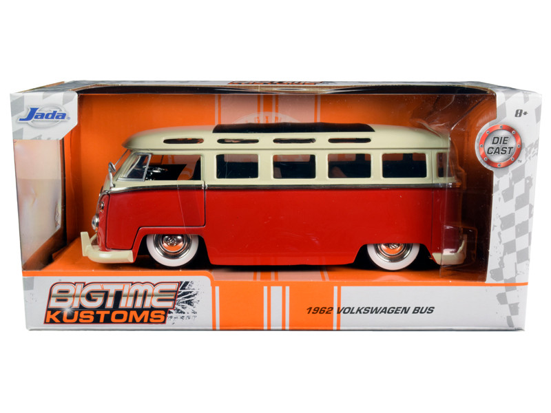 1962 Volkswagen Bus Red Cream Bigtime Kustoms 1/24 Diecast Model Car Jada 99058