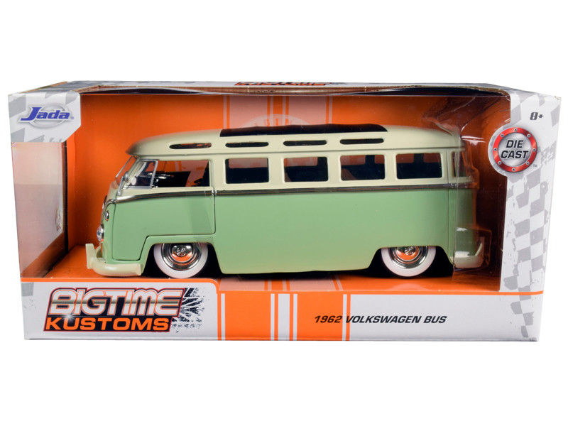 1962 Volkswagen Bus Light Green Cream Bigtime Kustoms 1/24 Diecast Model Car Jada 99064