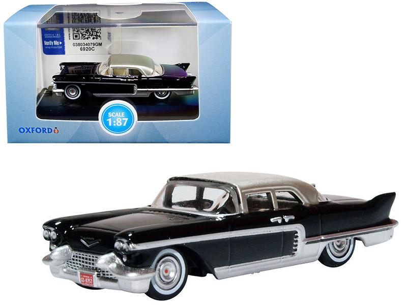 1957 Cadillac Eldorado Brougham Ebony Black Silver Metallic Top 1/87 HO Scale Diecast Model Car Oxford Diecast 87CE57001