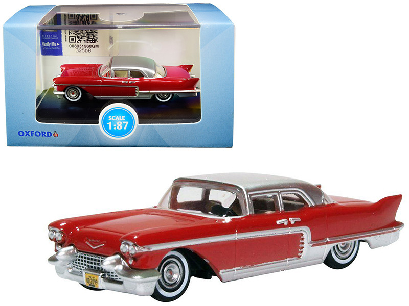 1957 Cadillac Eldorado Brougham Dakota Red Silver Metallic Top 1/87 HO Scale Diecast Model Car Oxford Diecast 87CE57002