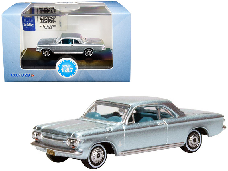 1963 Chevrolet Corvair Coupe Satin Silver Blue Metallic Blue Interior 1/87 HO Scale Diecast Model Car Oxford Diecast 87CH63001