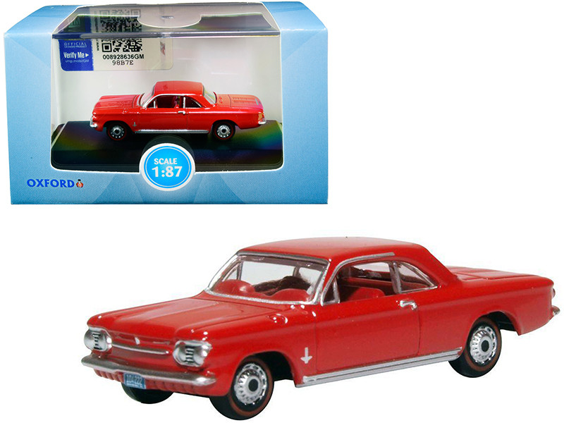 1963 Chevrolet Corvair Coupe Riverside Red Red Interior 1/87 HO Scale Diecast Model Car Oxford Diecast 87CH63002