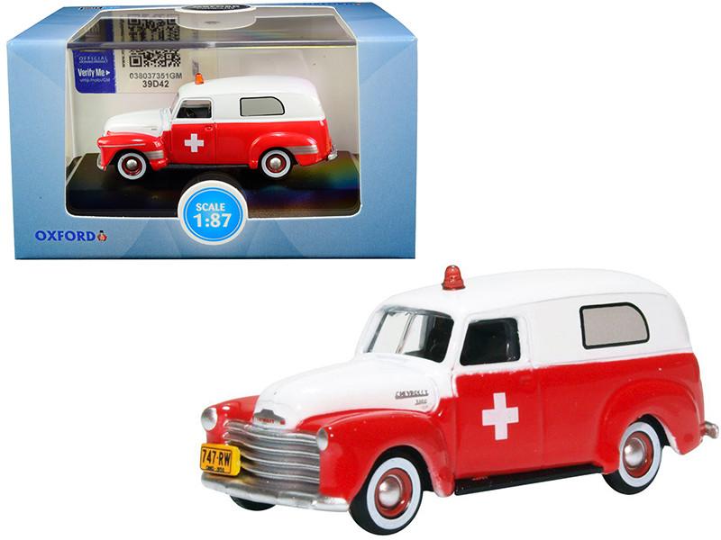 1950 Chevrolet Panel Van Ambulance Red White 1/87 HO Scale Diecast Model Car Oxford Diecast 87CV50001