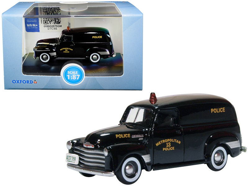 1950 Chevrolet Panel Van Black Metropolitan 13 Police Washington DC 1/87 HO Scale Diecast Model Car Oxford Diecast 87CV50002