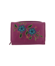 Carnation Embroidered Small Vegan Leather Wallet