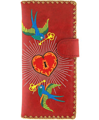 Key to Heart Embroidered Large Vegan Leather Wallet