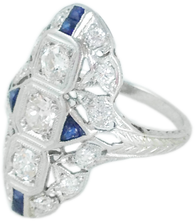 SOLD 1920s Art Deco Diamond Sapphire Ring in Platinum and 18k White Gold