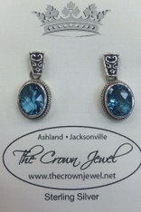 Faceted Oval Blue Topaz Post Earrings by Sarda