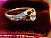 Antique Victorian Mine Cut Diamond Ring 18kt Gold