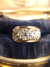 SOLD 3 Diamond European Cut Antique Ring