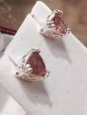 Oregon Sunstone Trillion Earrings 6mm