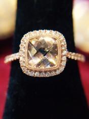 Morganite and Diamond Rose Gold Ring
