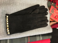 Faux Suede Studded Texting Gloves