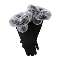 Black Faux Fur Wool Gloves