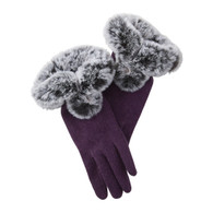 Plum Faux Fur Wool Gloves